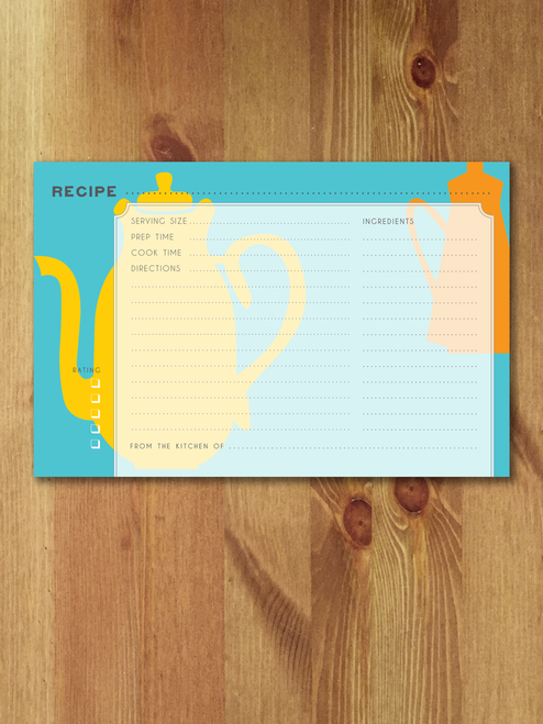 12 Tea Time Modern Recipe Cards