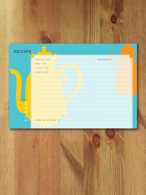 12 Tea Time Modern Recipe Cards