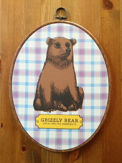 Bear Fabric Oval Art Print
