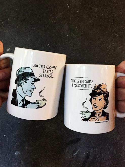 Witty coffee mug with retro artwork