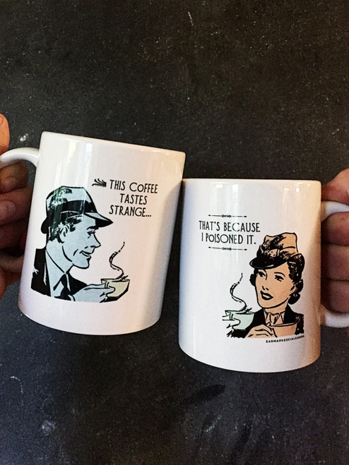 Witty coffee mug with retro artwork