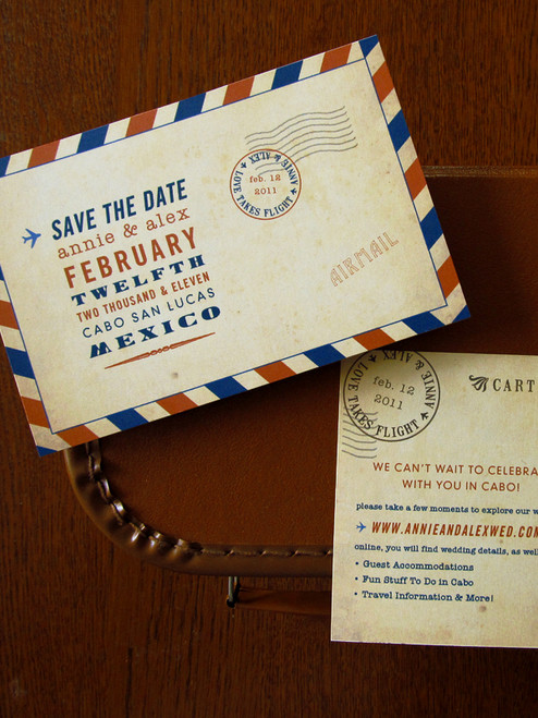 Vintage Airmail style Postcard Save the Date by Earmark Social Goods. These cards are printed on heavyweight, 100% recycled paper. Making them a sturdy and beautiful invitation.