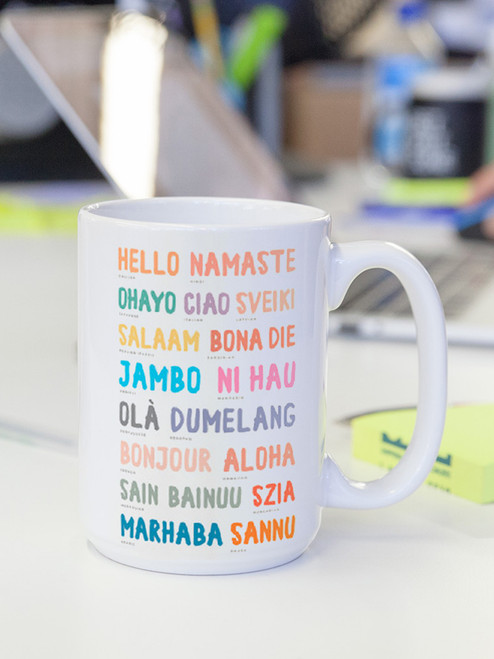 Cool ceramic coffee mug! Love all the ways to say Hi! 17 Languages to start each morning off the right way.