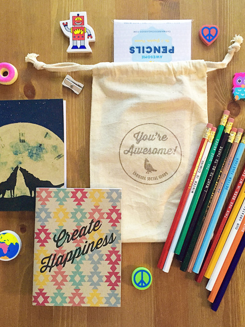 2 Notebooks, 12 Pencils, erasers, sharpener = Super cool gift idea!