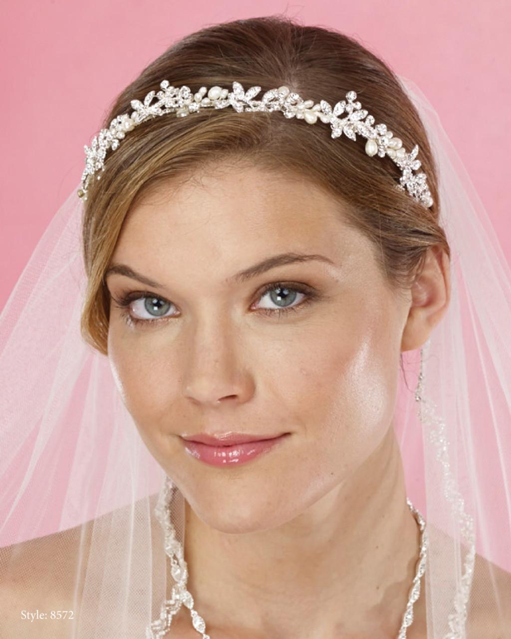 Pearl Headpieces For Brides: Marionat Bridal Headpieces Style 8572 Rhinestone Pearl