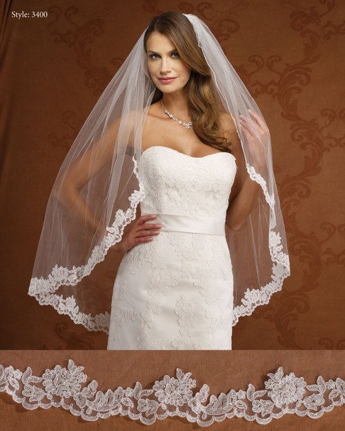 Marionat Bridal Veils 3400- Lace Edge Veil - The Bridal Veil Company