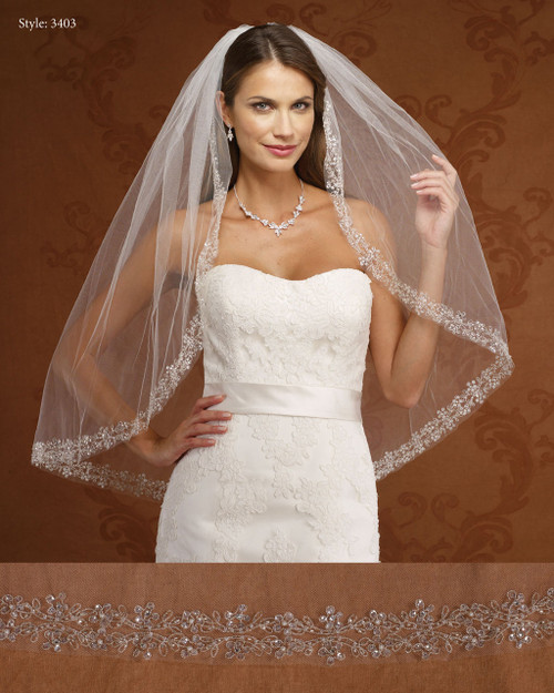 Marionat Bridal Veils 3403-Embroidered Design- The Bridal Veil Company