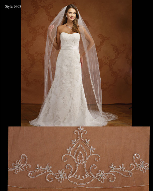 Marionat Bridal Veils 3408- Embroidered- The Bridal Veil Company