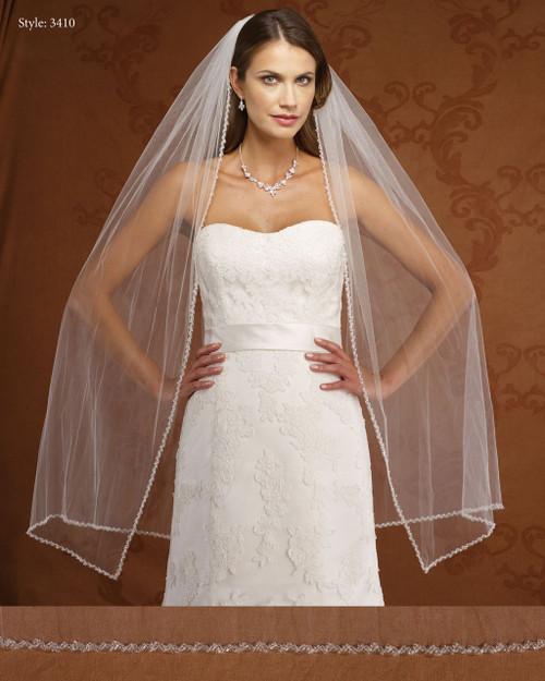 Marionat Bridal Veils 3410- Beaded Edge- The Bridal Veil Company