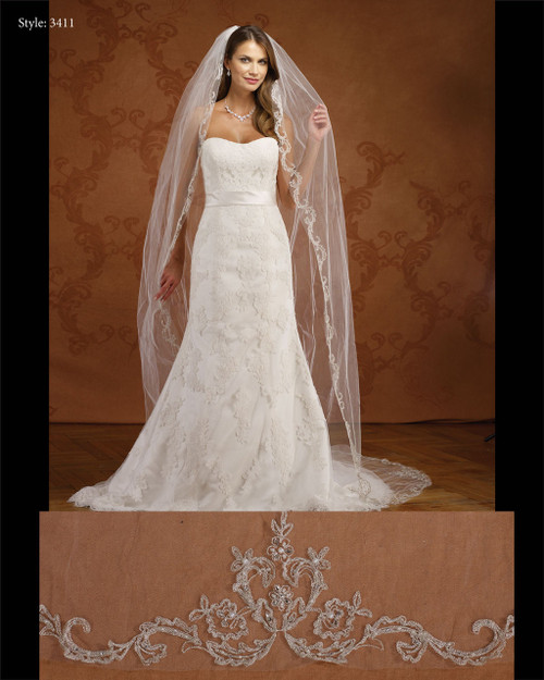 Marionat Bridal Veils 3411- Embroidered Design- The Bridal Veil Company