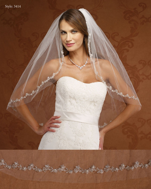 Marionat Bridal Veils 3414- Embroidered Flowers-The Bridal Veil Company