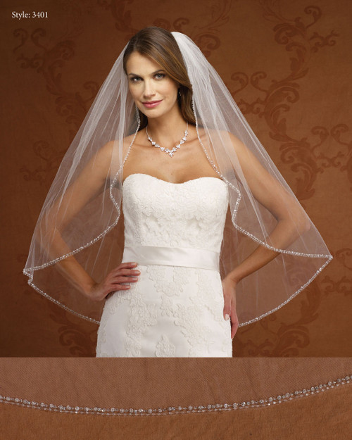 Marionat Bridal Veils 3401- Double Row Beaded Edge- The Bridal Veil Company