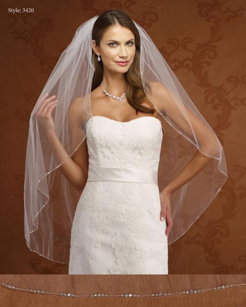 Marionat Bridal Veils 3420-Small Beaded Edge-The Bridal Veil Company