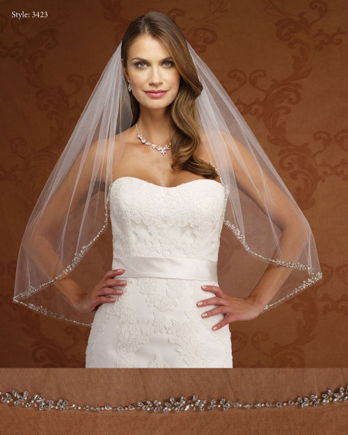 Marionat Bridal Veils 3423-Rhinestone Border-The Bridal Veil Company