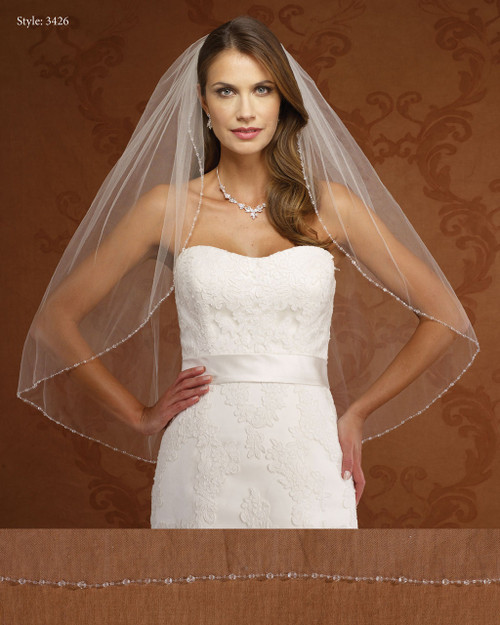 Marionat Bridal Veils 3426- Crystal Beaded Edge-The Bridal Veil Company
