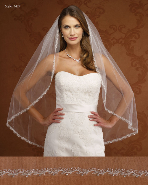Marionat Bridal Veils 3427- Beaded Embroidered Border -The Bridal Veil Company