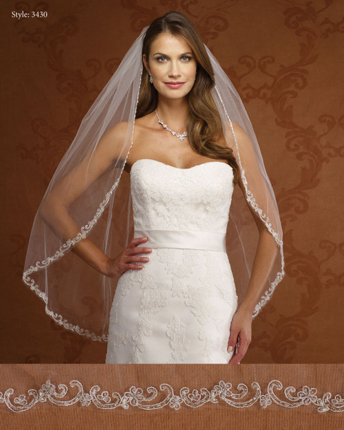 Marionat Bridal Veils 3430-Beaded Embroidered Flowers-The Bridal Veil Company