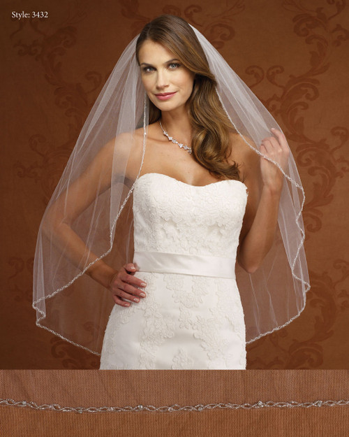 Marionat Bridal Veils 3432- Beaded Edge-The Bridal Veil Company