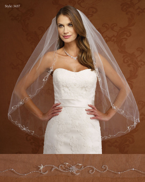Marionat Bridal Veils 3437- Beaded Embroidery Floral-The Bridal Veil Company