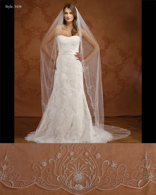 Marionat Bridal Veils 3438- Scalloped Beaded Design-The Bridal Veil Company