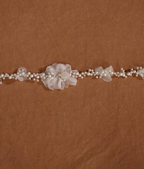 Marionat Bridal Belt 1059 - Pearl Floral Belt-The Bridal Veil Company