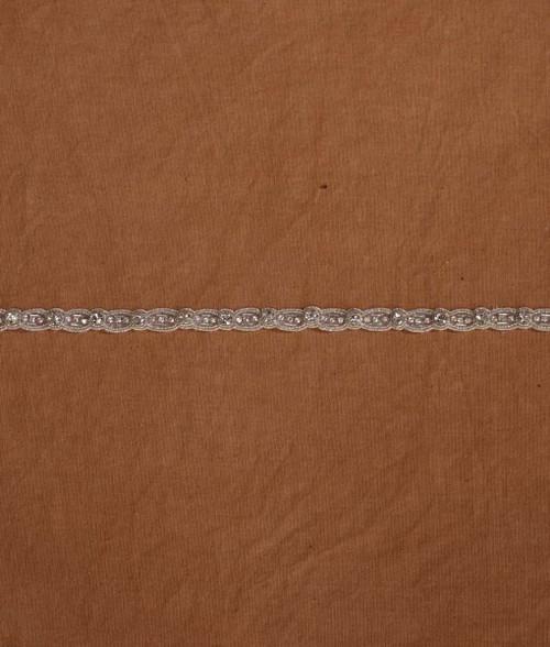 "Marionat Bridal Belt 1063 - Thin Beaded Rhinestone Belt with Ribbon 30"" Long-The Bridal Veil Company"