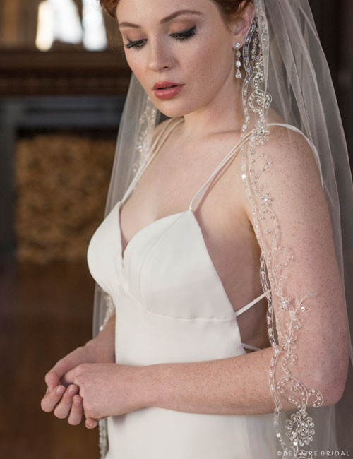 Bel Aire Bridal Veils V7361 - 1-tier fingertip veil with silver embroidered scrolls