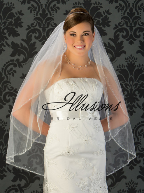 Illusions Bridal Veils Style V-790 - 2 Tier bugle bead, sequin and pearl edge