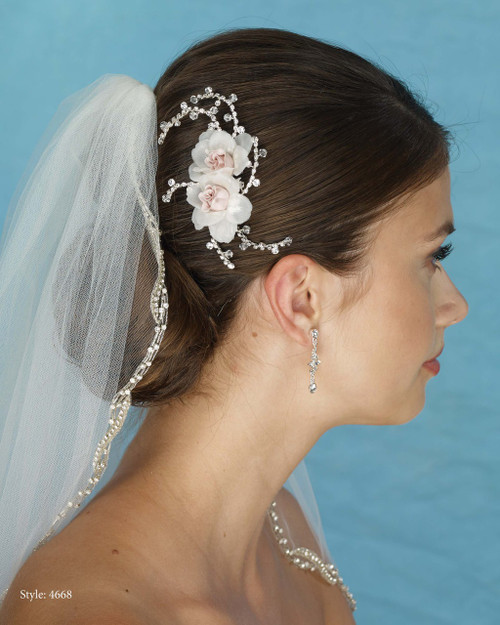 Marionat Bridal 4668 Blush and Ivory Flower Clip with Rhinestone Sprays - Le Crystal Collection