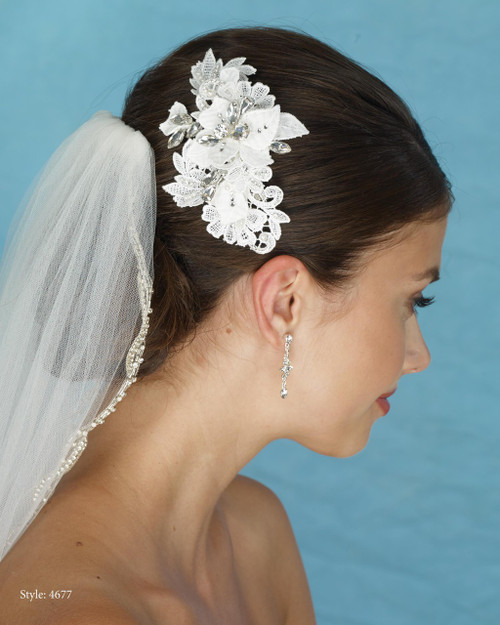 Marionat Bridal 4677 Lace Flower Clip with Rhinestones - Le Crystal Collection