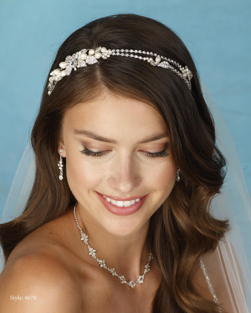 Marionat Bridal 4678 Asymmetrical Rhinestone and Pearl Band - Le Crystal Collection