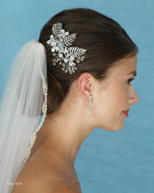 Marionat Bridal 4679 Rhodium Rhinestone Comb with Metal Flowers and Crystals - Le Crystal Collection