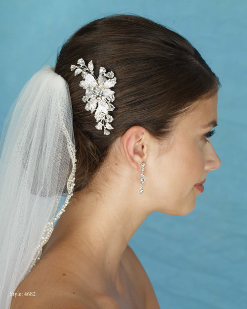 Marionat Bridal 4682 Rhinestone Flower Comb - Le Crystal Collection