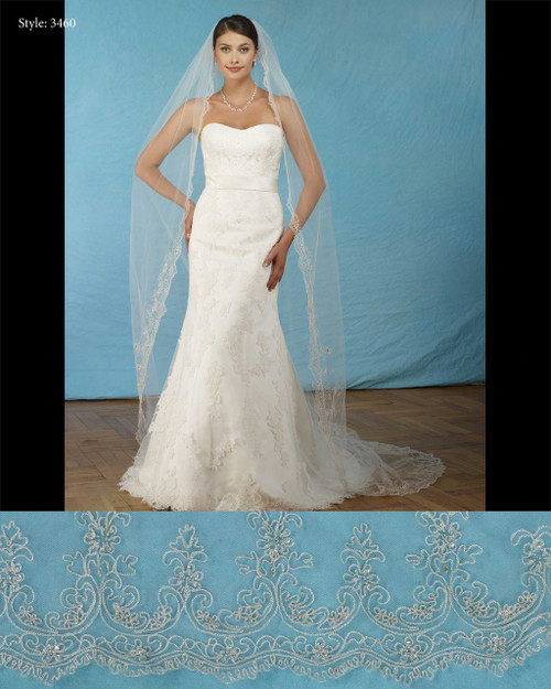 "Marionat Bridal Veils 3460- Silver embroidered scallop 108"" Inches Long -The Bridal Veil Company"