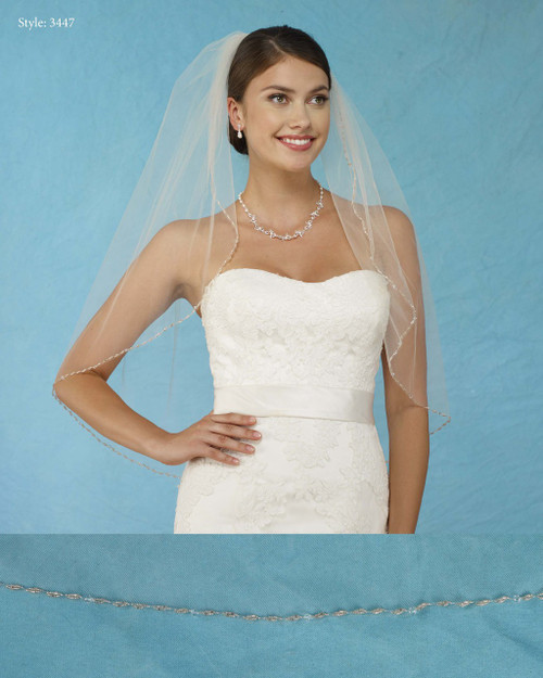 Marionat Bridal Veils 3447 - Beaded Edge with Crystals - The Bridal Veil Company