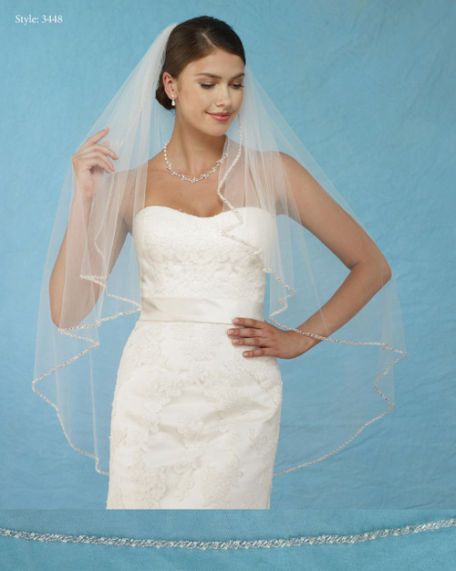 Marionat Bridal Veils 3448 - Angel Cut with Bugle Beads and Pearls - The Bridal Veil Company