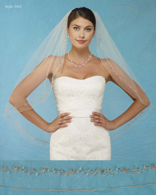 Marionat Bridal Veils 3452 - Gold Floral Embroidery with Rolled Edge -The Bridal Veil Company