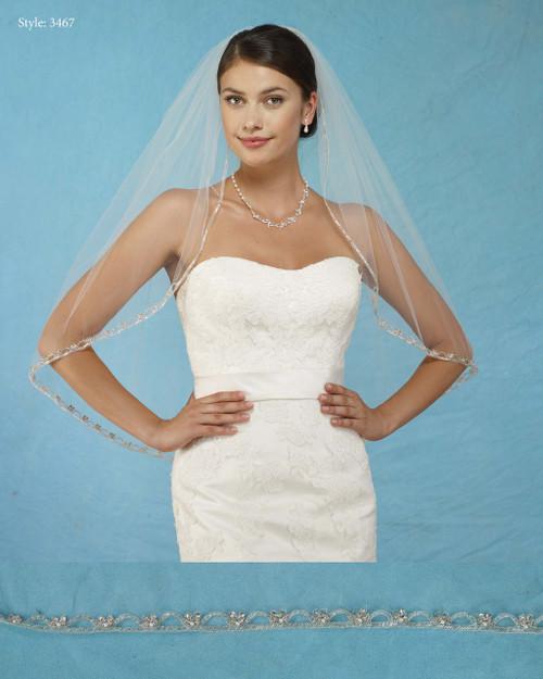 Marionat Bridal Veils 3467 - Rhinestone Beaded Edge - The Bridal Veil Company