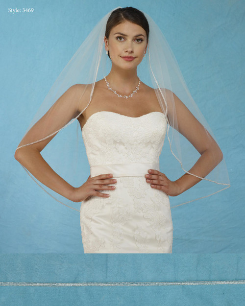 Marionat Bridal Veils 3469 - Triple Row Beaded Edge - The Bridal Veil Company