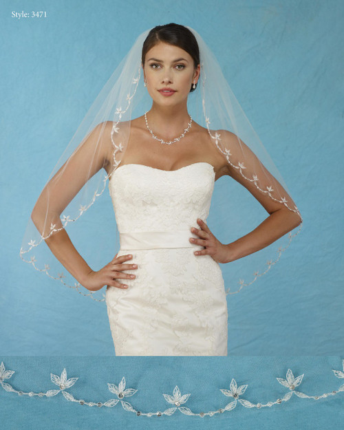 Marionat Bridal Veils 3471 - Embroidered Flowers - The Bridal Veil Company