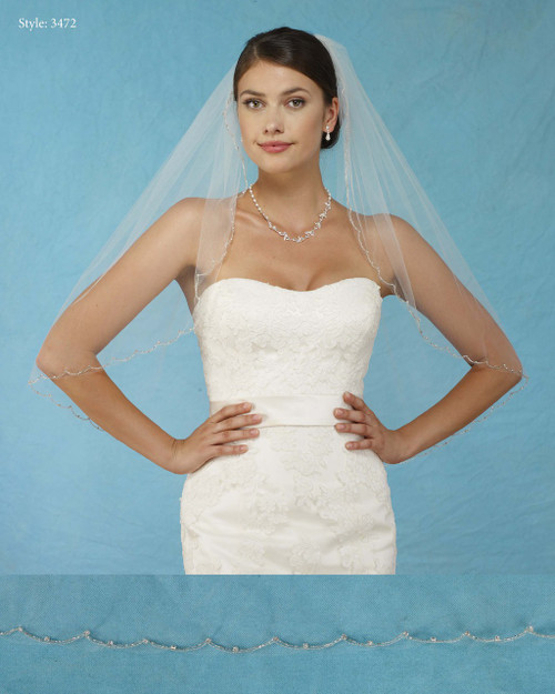 Marionat Bridal Veils 3472 - Beaded Scallop with Rhinestones in Settings - The Bridal Veil Company