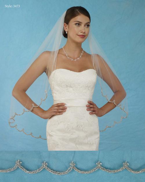 Marionat Bridal Veils 3473 - Double Row Rhinestone Scallop - The Bridal Veil Company