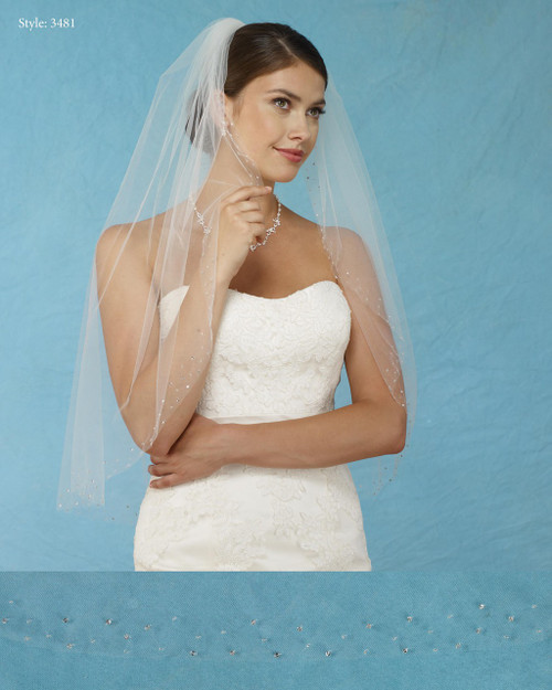 Marionat Bridal Veils 3481 - Scattered Beaded Border - The Bridal Veil Company