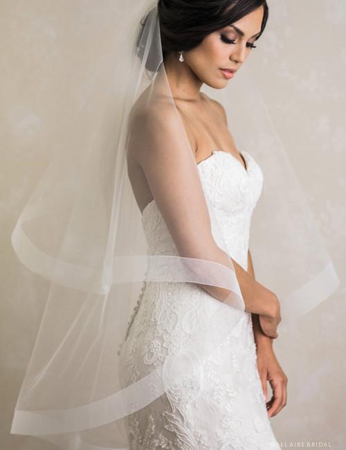 Bel Aire Bridal Veils V7388 - 2-tier fingertip foldover veil with 2