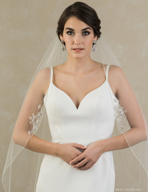 Bel Aire Bridal Veils V7394 - 1-tier veil with silver rolled edge and rhinestone motifs