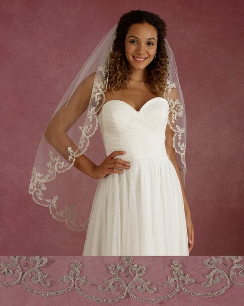 "Marionat Bridal Veils 3665 - 42"" Long scalloped embroidery with beads and rhinestones - The Bridal Veil Company"