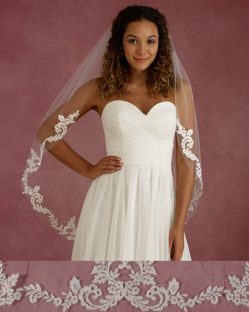 """Marionat Bridal Veils 3674 - 40"""" Long lace veil with pearls and rhinestone - The Bridal Veil Company"""