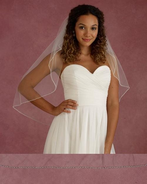"Marionat Bridal Veils 3676 - 32"" Long pearl rhinestone edge veil - The Bridal Veil Company"