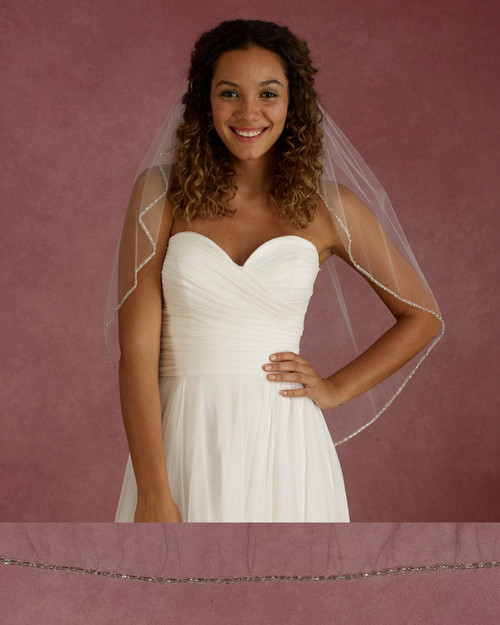 "Marionat Bridal Veils 3677 - 32"" Long pearl rhinestone edge veil - The Bridal Veil Company"