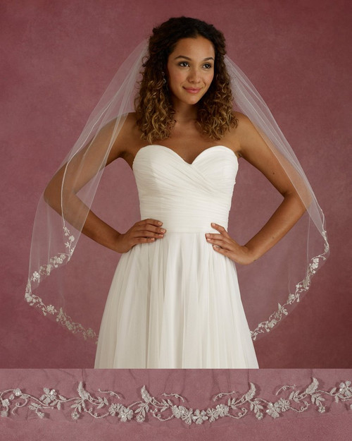 "Marionat Bridal Veils 3678 - 42"" Long embroidered floral design with sequins - The Bridal Veil Company"